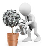 3D white people. Businessman watering a money plant Royalty Free Stock Photography