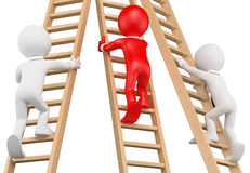 3D white people. Businessmen climbing a wooden ladder Royalty Free Stock Photos