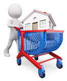 3D white people. Buy a house concept. 3d white people. Man carrying a house in a shopping cart. Buy a house concept. White background Stock Photography