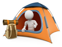 3D white people. Camping tent Stock Photos