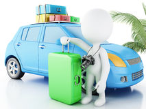 3d white people with car and travel suitcases. Royalty Free Stock Photography
