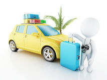 3d white people with car and travel suitcases. Royalty Free Stock Images