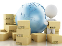 3d White people with cardboard boxes. Delivery concept. 3d illustration. White people, Earth globe and cardboard boxes. Package delivery concept Royalty Free Stock Photography