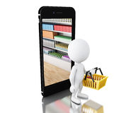 3d White people with cart and smartphone. Shop online concept. Stock Photography