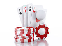 3d White people with casino tolkens and cards. Stock Photo