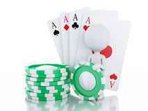 3d White people with casino tolkens and cards. Stock Images