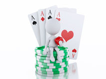 3d White people with casino tolkens and cards. Royalty Free Stock Images