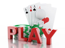3d White people with casino tolkens and cards. Royalty Free Stock Image