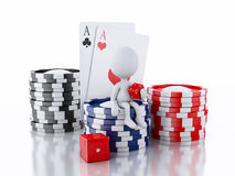 3d White people with casino tolkens, dice and cards. Stock Image