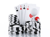 3d White people with casino tolkens, dice and cards. Royalty Free Stock Images