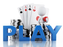 3d White people with casino tolkens, dice and cards. Royalty Free Stock Image