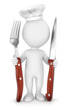 3d white people chef with fork and knife Royalty Free Stock Photo
