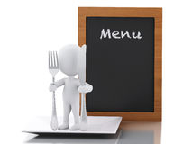3d white people Chef with Menu board, fork and knife. Stock Photos