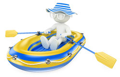 3D white people. Child paddling in an inflatable boat Royalty Free Stock Images