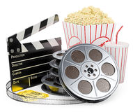 3D white people. Cinema clapper film reel drink and popcorn. 3d white people. Cinema clapper film reel drink popcorn and tickets. White background Royalty Free Stock Photos