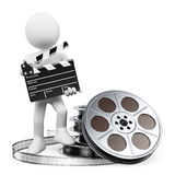 3D white people. Clapper board and film reel. 3d white people. Film director with clapperboard and film reels. White background Royalty Free Stock Photos