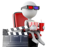 3d white people with clapper board, popcorn and drink. 3d illustration. White people with clapper board, popcorn and drink. cinematography concept.  white Stock Images