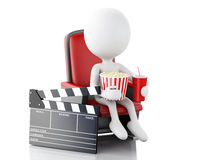 3d white people with clapper board, popcorn and drink. 3d illustration. White people with clapper board, popcorn and drink. cinematography concept.  white Royalty Free Stock Images