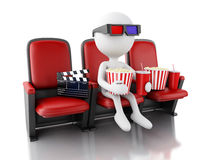 3d white people with clapper board, popcorn and drink. Stock Photography