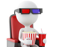 3d white people with clapper board, popcorn and drink. Royalty Free Stock Photography