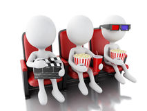 3d white people with clapper board, popcorn and drink on theater Stock Images