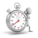 3d white people with classic metal stopwatch Royalty Free Stock Photos