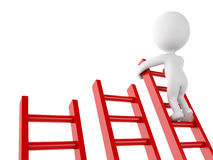3d White people climbing ladder. Success in business. Royalty Free Stock Photos