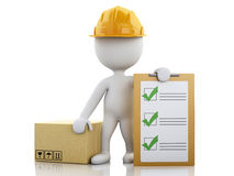 3d White people with clipboard checklist and cardboard boxes. 3d illustration. White people with clipboard checklist and cardboard boxes. Package delivery Stock Photo