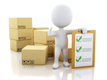 3d White people with clipboard checklist and cardboard boxes. 3d illustration. White people with clipboard checklist and cardboard boxes. Package delivery Stock Photos