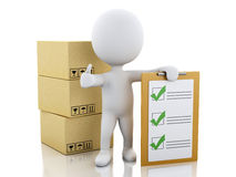 3d White people with clipboard checklist and cardboard boxes. 3d illustration. White people with clipboard checklist and cardboard boxes. Package delivery Royalty Free Stock Images