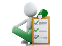 3d White people with clipboard checklist. Royalty Free Stock Images