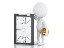 3d white people coach with Basketball Clipboard. 3d renderer image. White people coach with basketball clipboard and ball. Isolated white background Stock Image