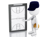 3d white people coach with Basketball Clipboard. 3d renderer image. White people coach with basketball clipboard and ball. Isolated white background Royalty Free Stock Photos