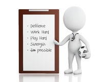 3d white people coach with Clipboard. Royalty Free Stock Images