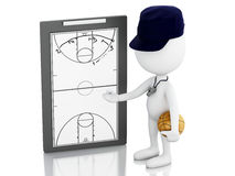 3d white people coach with Clipboard. Stock Images