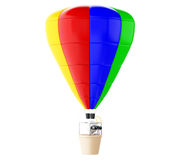 3d White people on colorful hot air ballon with binoculars. Royalty Free Stock Photo