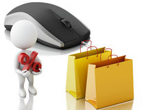 3d white people with computer mouse. E-commerce concept Stock Photography