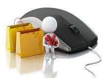3d white people with computer mouse. E-commerce concept Royalty Free Stock Image