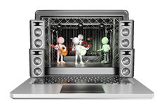 3D white people. Concert in a laptop. Video streaming concept Stock Photos