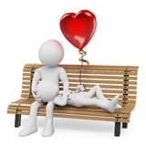 3D white people. Couple in love on a park bench. With a heart shaped balloon. White background Royalty Free Stock Photo