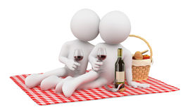 3D white people. Couple romantic picnic. Valentines Day Royalty Free Stock Photo
