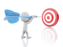 3d White people with dart and target. Success in business. Royalty Free Stock Image