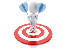 3d white people with darts and target. success in business Royalty Free Stock Photography