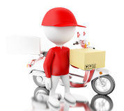 3d White people delivering boxes with motorbike on time Stock Photo