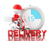 3d White people delivering boxes with motorbike on time Royalty Free Stock Photos