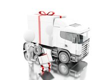 3d White people delivering a gift box with truck and delivery. 3d illustration. White people delivering a gift box with truck and delivery van. Presents Royalty Free Stock Photography