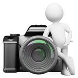 3D white people. Digital camera DSLR. 3d white person leaning on a digital camera DSLR. White background Stock Image