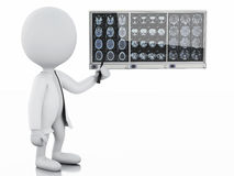 3d white people doctor with cranial brain films Stock Photography