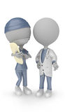 3D white people- doctor and nurse vector illustration