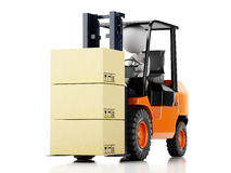 3d white people driving a forklift with boxes. 3d illustration. White people driving a forklift with boxes.  white background Stock Photo